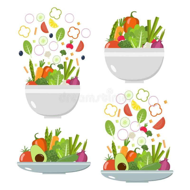 Φυτικά πιάτα και κύπελλα λαχανικά φετών σιτηρεσίο&ups Επίπεδο σχέδιο ελεύθερη απεικόνιση δικαιώματος