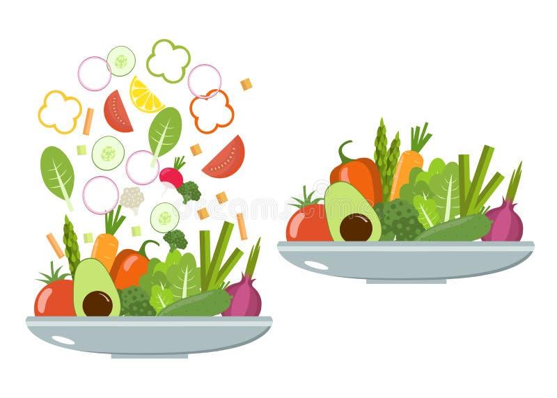 Φυτικά πιάτα λαχανικά φετών σιτηρεσίο&ups Επίπεδο σχέδιο διανυσματική απεικόνιση