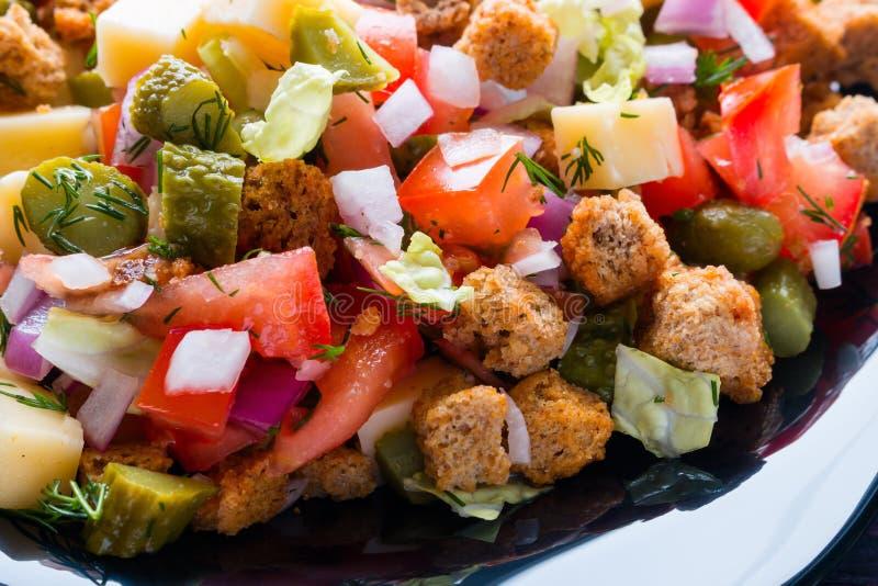 Φυτικά σαλάτα, κροτίδες και τυρί στοκ φωτογραφία με δικαίωμα ελεύθερης χρήσης
