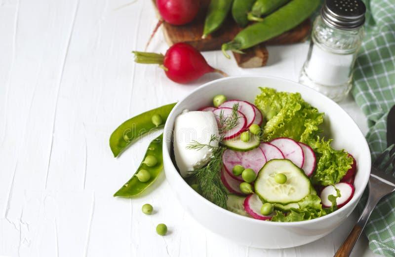 Φυτική σαλάτα άνοιξη με το ραδίκι, το αγγούρι και τα πράσινα μπιζέλια στοκ εικόνα με δικαίωμα ελεύθερης χρήσης