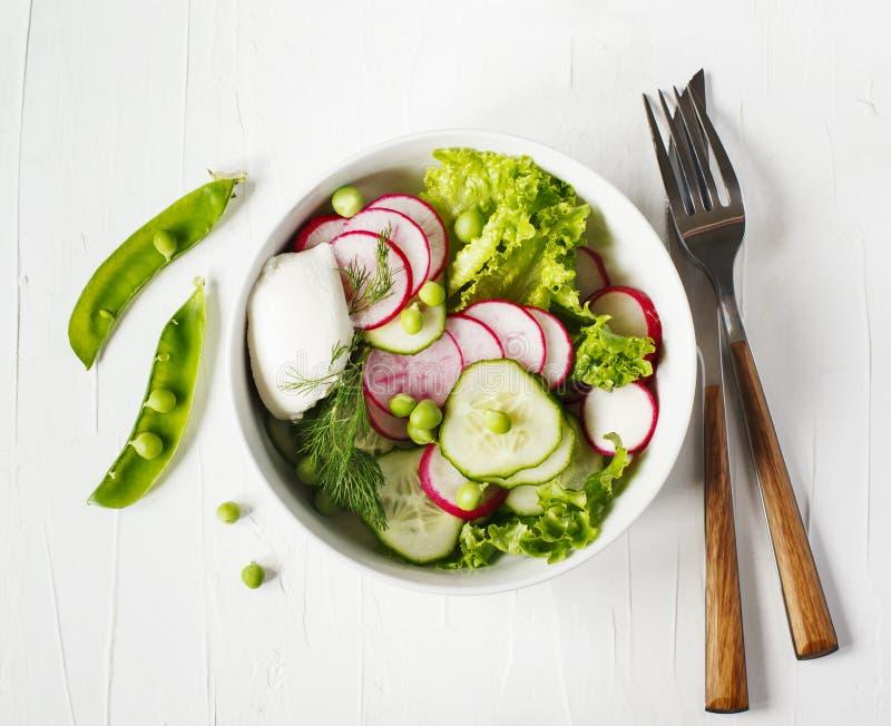 Φυτική σαλάτα άνοιξη με το ραδίκι, το αγγούρι και τα πράσινα μπιζέλια στοκ φωτογραφία με δικαίωμα ελεύθερης χρήσης