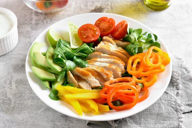 Φυτική σαλάτα με το στήθος κοτόπουλου στοκ φωτογραφίες με δικαίωμα ελεύθερης χρήσης