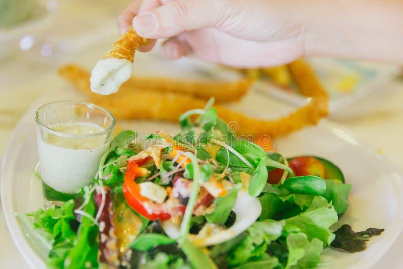 Φυτική σαλάτα ψαριών και τσιπ με τη βύθιση της σάλτσας στοκ φωτογραφίες με δικαίωμα ελεύθερης χρήσης