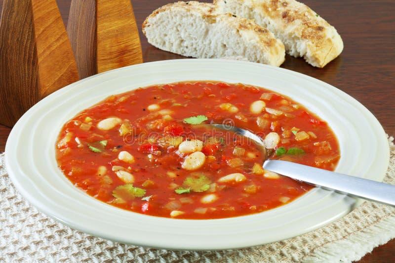 Φυτική σούπα με την ντομάτα και τα άσπρα φασόλια στοκ εικόνες