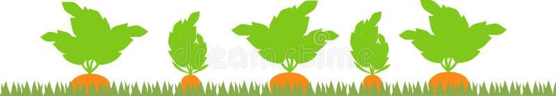 Φυτικό μπάλωμα με τις σκιαγραφίες καρότων ελεύθερη απεικόνιση δικαιώματος