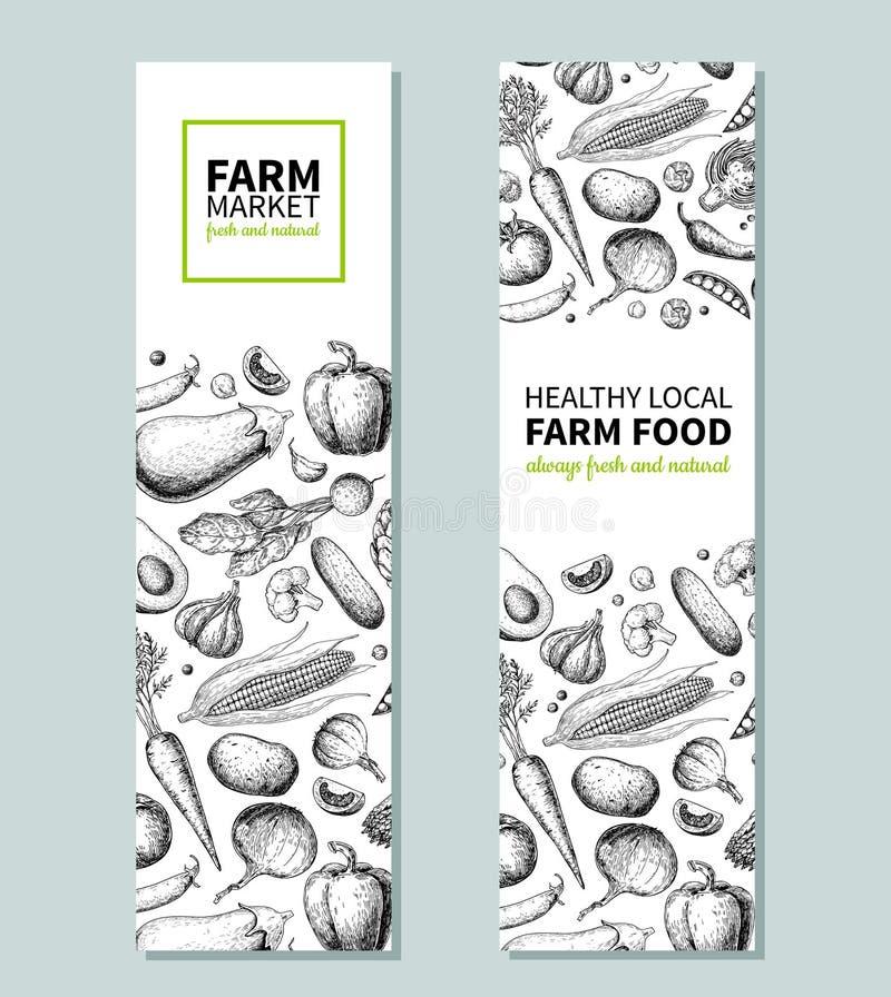 Φυτικό συρμένο χέρι εκλεκτής ποιότητας διανυσματικό έμβλημα Αφίσα αγροτικής αγοράς Χορτοφάγο σκίτσο των οργανικών προϊόντων Λεπτο απεικόνιση αποθεμάτων