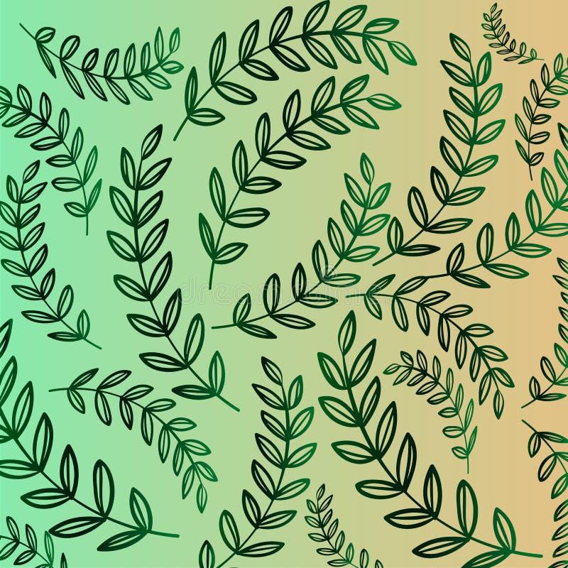 Φυτικό σχέδιο - πράσινη κλίση του κλάδου με τα φύλλα Υπόβαθρο Florar διανυσματική απεικόνιση
