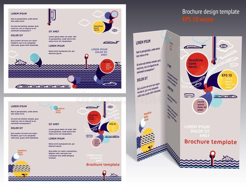 Φυλλάδιο, ζ-πτυχές 2 βιβλιάριων δευτερεύον σχεδιάγραμμα. Πρότυπο σχεδίου Editable απεικόνιση αποθεμάτων
