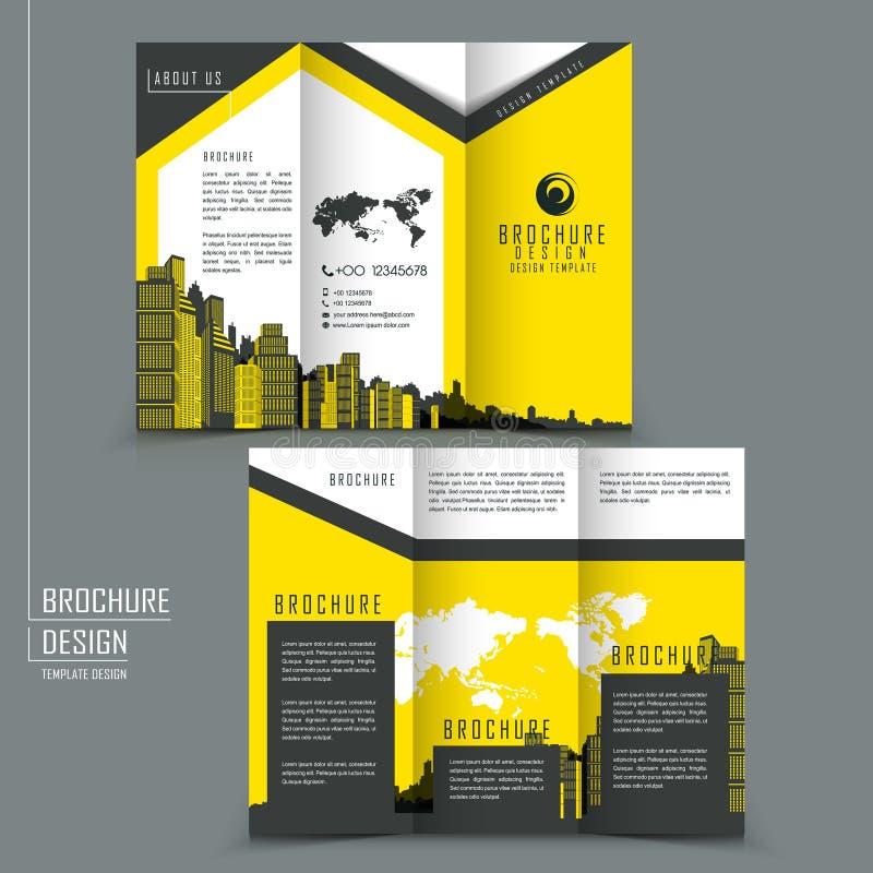 Φυλλάδιο προτύπων Trifold για την επιχειρησιακή διαφήμιση απεικόνιση αποθεμάτων