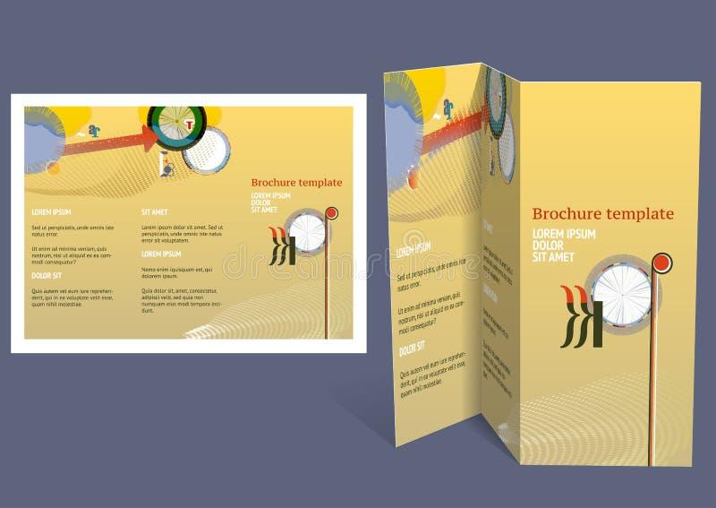 Φυλλάδιο, σχεδιάγραμμα ζ-πτυχών βιβλιάριων. Πρότυπο σχεδίου Editable απεικόνιση αποθεμάτων