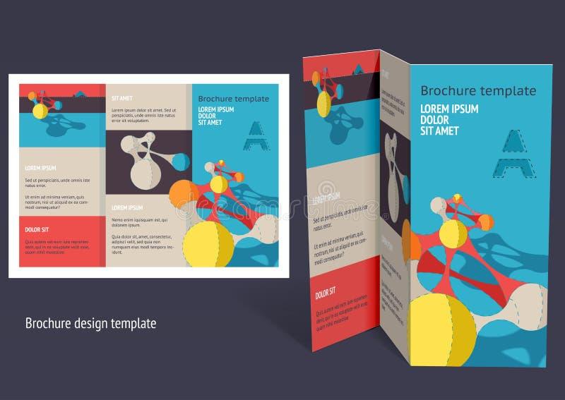 Φυλλάδιο, σχεδιάγραμμα ζ-πτυχών βιβλιάριων. Πρότυπο σχεδίου Editable ελεύθερη απεικόνιση δικαιώματος