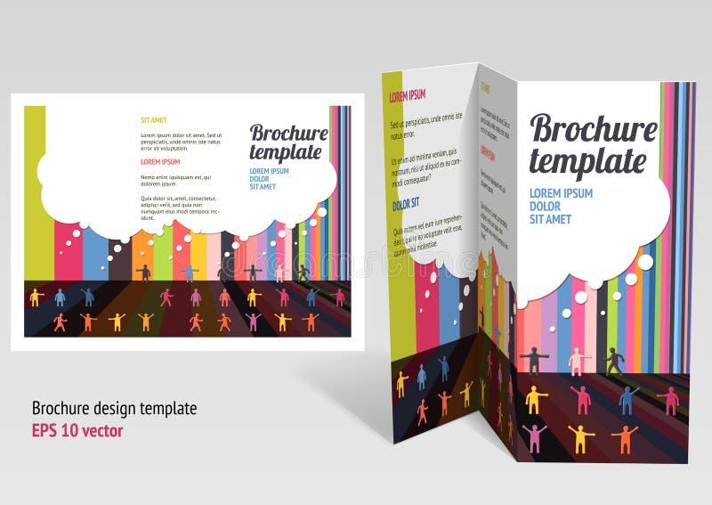 Φυλλάδιο, σχεδιάγραμμα ζ-πτυχών βιβλιάριων. Σχέδιο τ Editable διανυσματική απεικόνιση