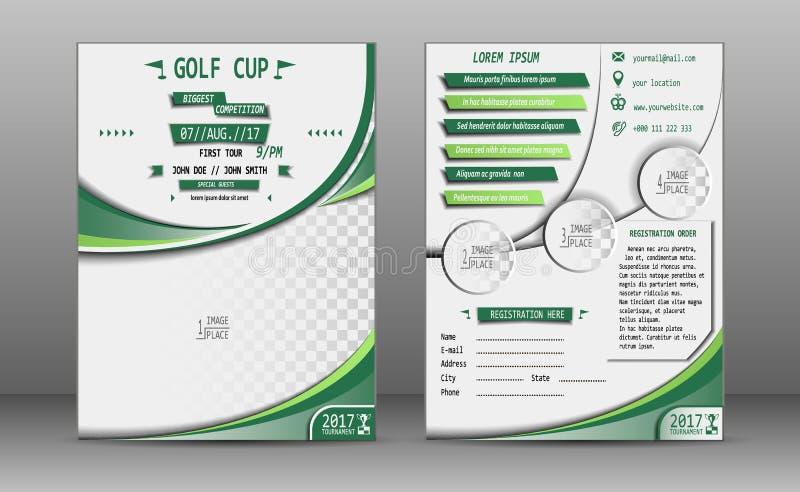 Φυλλάδιο φλυτζανιών γκολφ ελεύθερη απεικόνιση δικαιώματος