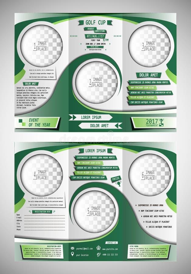 Φυλλάδιο φλυτζανιών γκολφ trifold απεικόνιση αποθεμάτων
