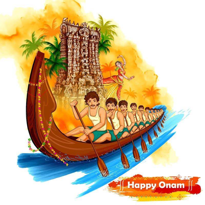 Φυλή Snakeboat σκηνικού ναών Meenakshi στο υπόβαθρο εορτασμού Onam για το ευτυχές φεστιβάλ Onam της νότιας Ινδίας Κεράλα απεικόνιση αποθεμάτων