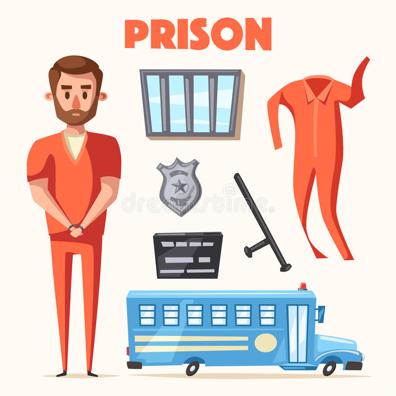 Φυλακή με το φυλακισμένο Σχέδιο χαρακτήρα η αλλοδαπή γάτα κινούμενων σχεδίων δραπετεύει το διάνυσμα στεγών απεικόνισης απεικόνιση αποθεμάτων