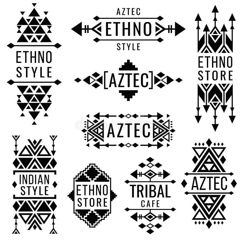 Φυλετικές παλαιές μεξικάνικες διανυσματικές διακοσμήσεις, ινδικό παραδοσιακό λογότυπο nativity απεικόνιση αποθεμάτων