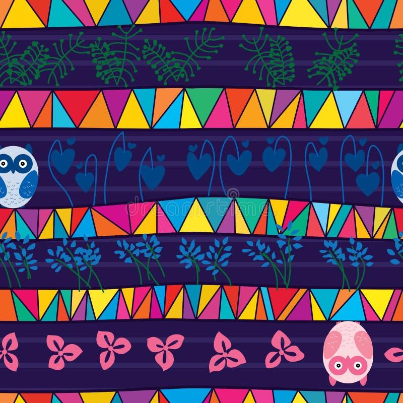 Φυλετικό άνευ ραφής σχέδιο ύφους κουκουβαγιών μιγμάτων απεικόνιση αποθεμάτων