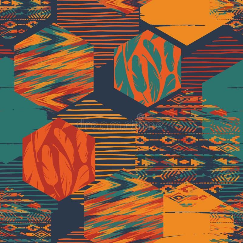 Φυλετικό εθνικό άνευ ραφής σχέδιο με τα γεωμετρικά hexagon στοιχεία ελεύθερη απεικόνιση δικαιώματος