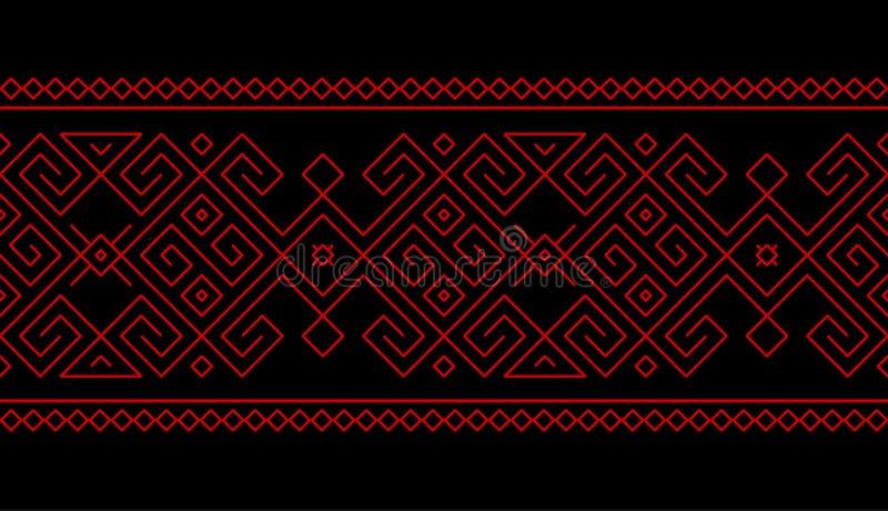 Φυλετικό, εθνικό άνευ ραφής σχέδιο με το γεωμετρικό λαϊκό στοιχείο ελεύθερη απεικόνιση δικαιώματος