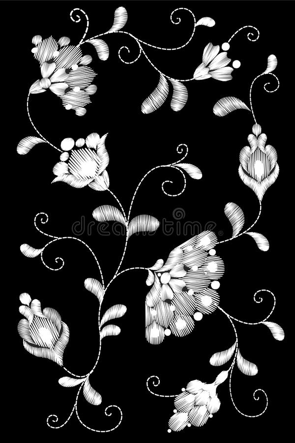 Φυλετικό μπάλωμα μαλλιών πλεξίματος κεντητικής λουλουδιών Μαύρη άσπρη μονοχρωματική floral υφαντική διακόσμηση δαντελλών Περίκομψ απεικόνιση αποθεμάτων