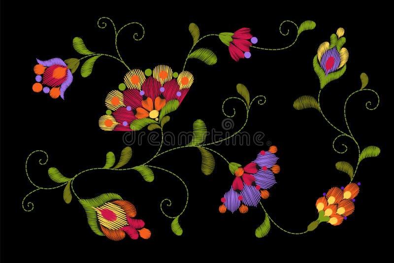 Φυλετικό μπάλωμα μαλλιών πλεξίματος κεντητικής λουλουδιών Φωτεινή κόκκινη πράσινη ζωηρόχρωμη floral υφαντική διακόσμηση Περίκομψη διανυσματική απεικόνιση