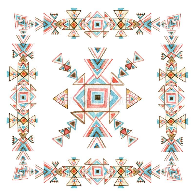 Φυλετικό πλαίσιο Watercolor με τα περίκομψα γεωμετρικά στοιχεία που απομονώνονται στο άσπρο υπόβαθρο απεικόνιση αποθεμάτων