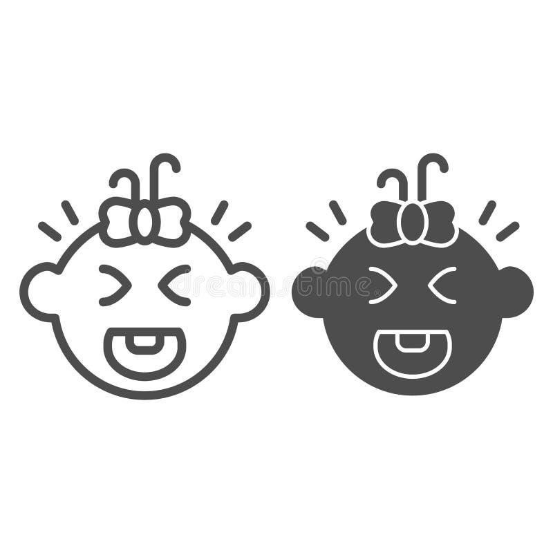 Φωνάζοντας γραμμή και glyph εικονίδιο μωρών Παιδιών κραυγής απεικόνιση που απομονώνεται διανυσματική στο λευκό Σχέδιο ύφους περιλ διανυσματική απεικόνιση