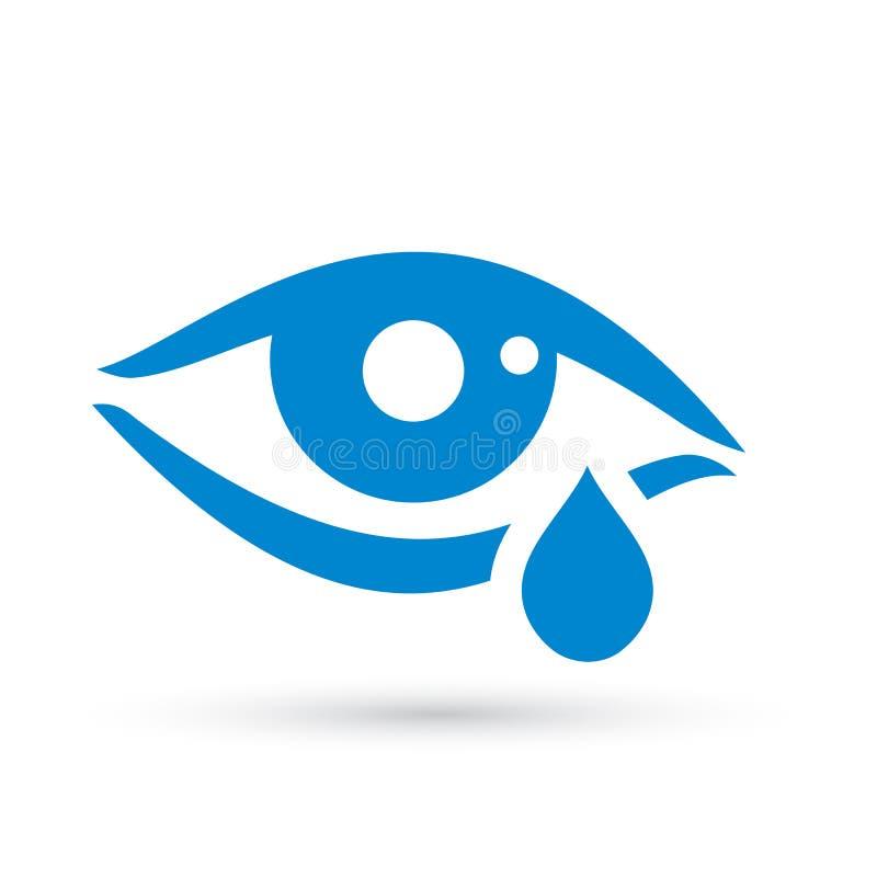Φωνάζοντας εικονίδιο δακρυ'ων ματιών γυναικών απεικόνιση αποθεμάτων