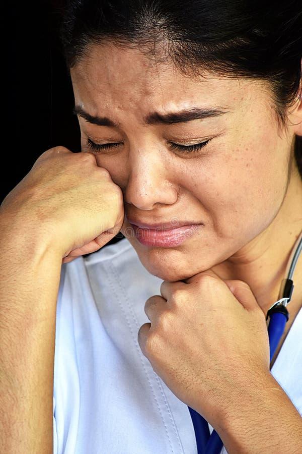 Φωνάζοντας ενήλικη γυναίκα νοσοκόμα στοκ φωτογραφίες με δικαίωμα ελεύθερης χρήσης