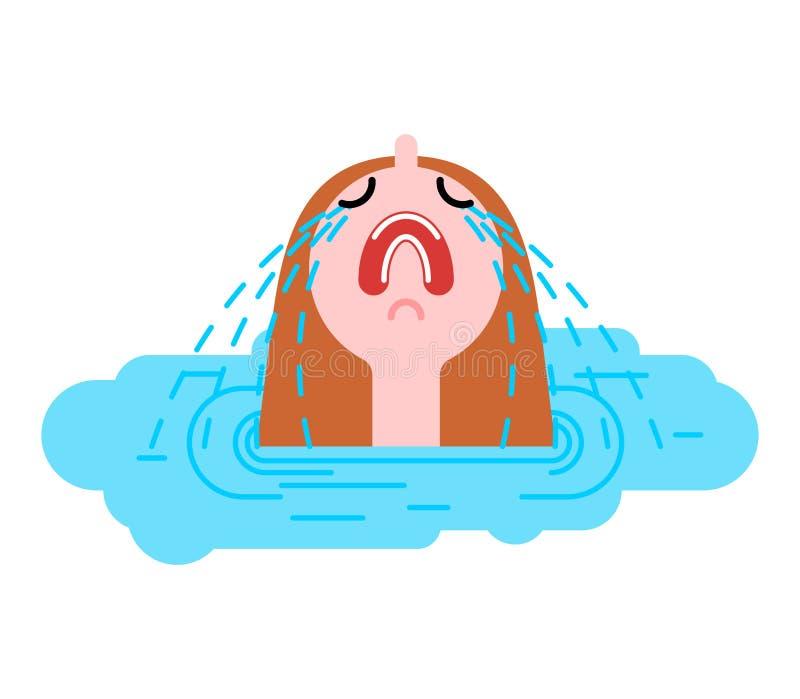 Φωνάζοντας λακκούβα γυναικών Λυπημένο κορίτσι στη λακκούβα των δακρυ'ων διανυσματική απεικόνιση