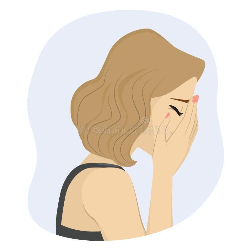φωνάζοντας λυπημένη γυναί&kap διανυσματική απεικόνιση