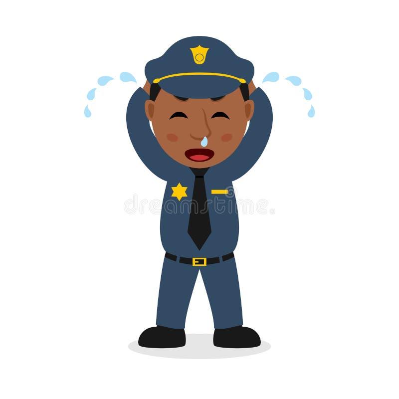 Φωνάζοντας μαύρος χαρακτήρας κινουμένων σχεδίων αστυνομικών διανυσματική απεικόνιση
