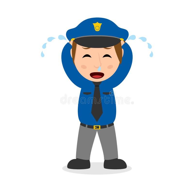 Φωνάζοντας χαρακτήρας κινουμένων σχεδίων αστυνομικινών ελεύθερη απεικόνιση δικαιώματος