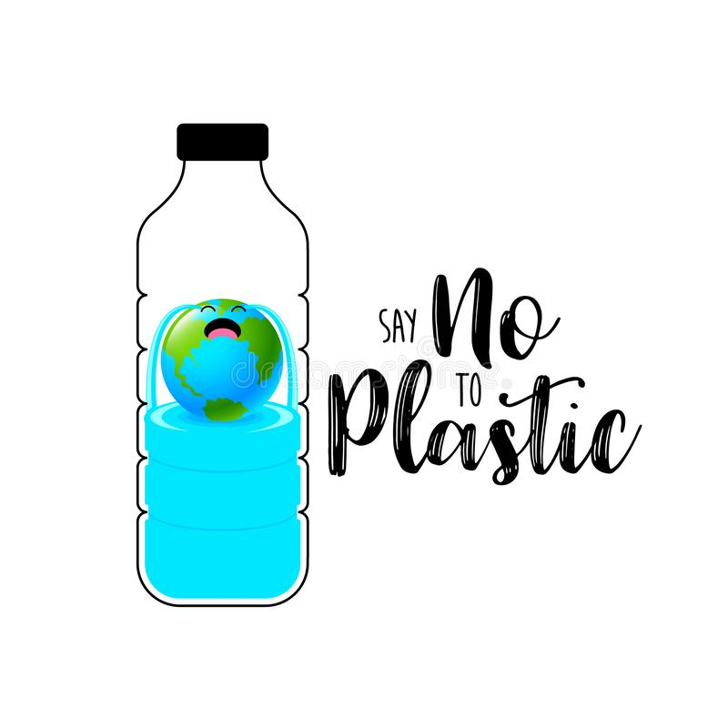 Φωνάζοντας χαρακτήρας σφαιρών στο πλαστικό μπουκάλι διανυσματική απεικόνιση