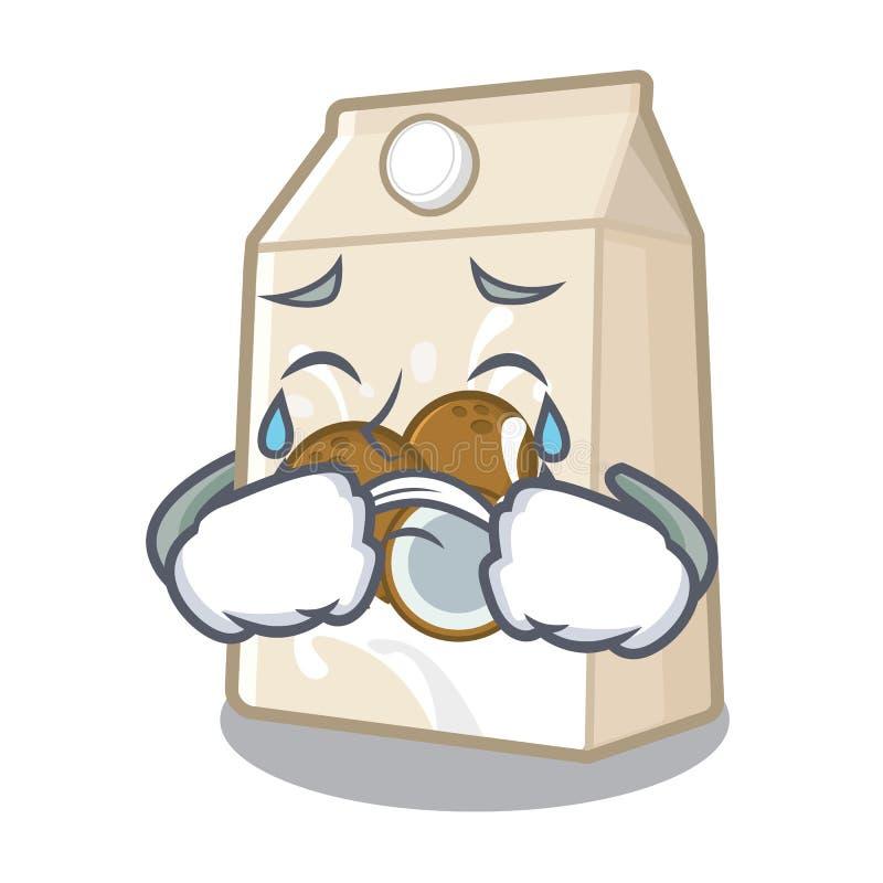 Φωνάζοντας cococnut γάλα στη μορφή μασκότ διανυσματική απεικόνιση