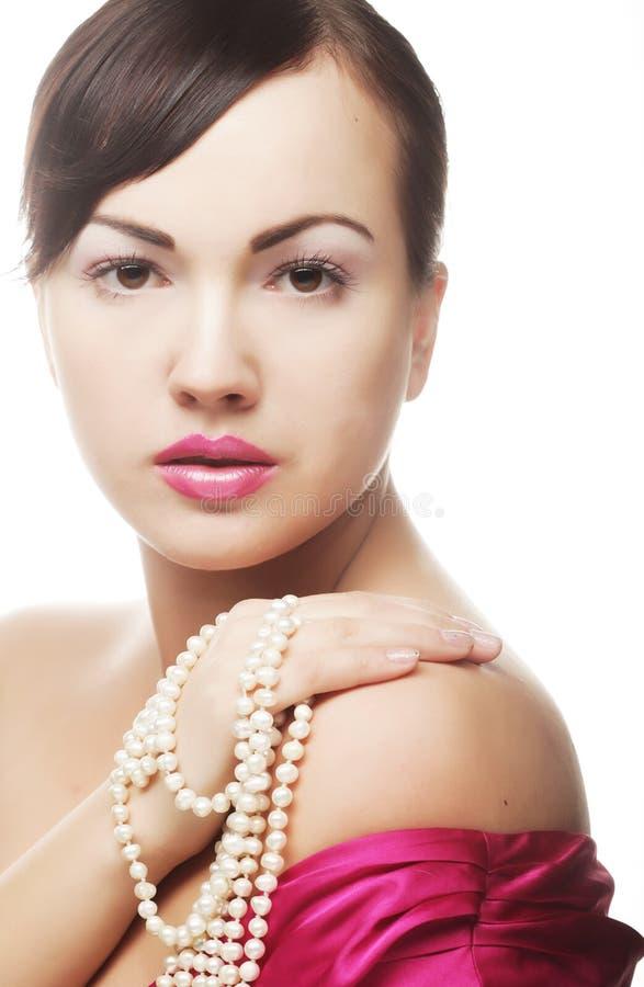 Φωνάξτε τη γυναίκα με το μαργαριτάρι στοκ εικόνες με δικαίωμα ελεύθερης χρήσης