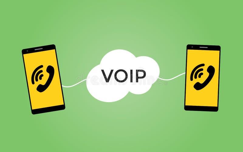 Φωνή Voip πέρα από την έννοια πρωτοκόλλου με δύο smartphones ελεύθερη απεικόνιση δικαιώματος