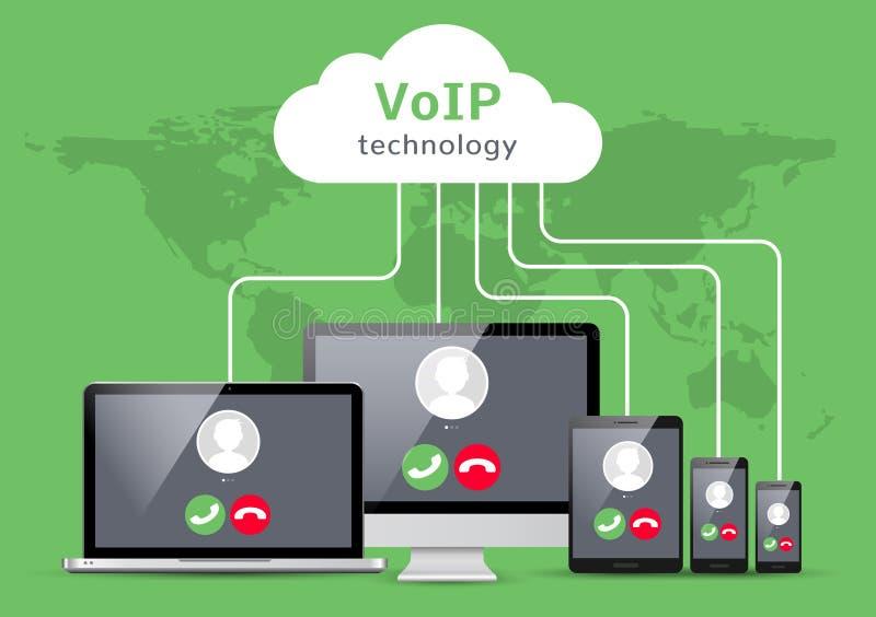 Φωνή VoIP πέρα από το δίκτυο lap-top smartphone απεικόνισης IP Επίπεδο σχέδιο έννοιας κλήσης Voip διανυσματική απεικόνιση