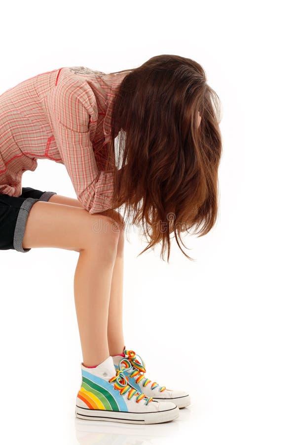 φωναγμένος μόνος έφηβος κοριτσιών κατάθλιψης στοκ φωτογραφίες