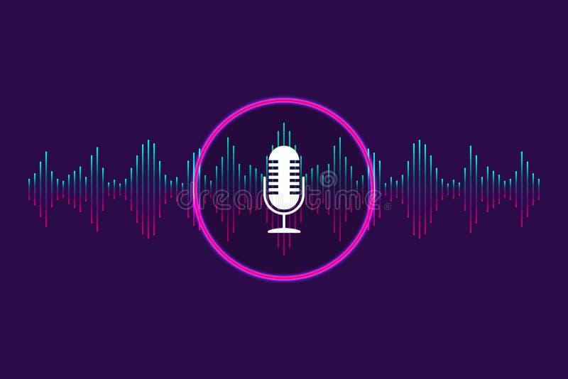 Φωνητικός έλεγχος, αναγνώριση φωνητικού υποβάθρου Ψηφιακό soundwave, βοηθός φωνής για μουσική, εφαρμογές, ηλεκτρονικό υπόβαθρο απεικόνιση αποθεμάτων