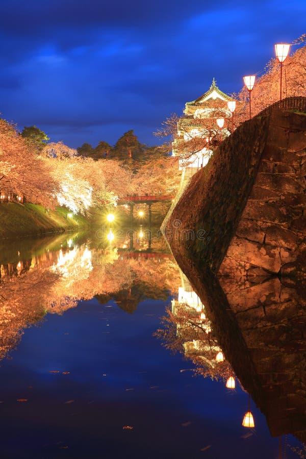 Φως επάνω των ανθών κάστρων και κερασιών Hirosaki στοκ εικόνες με δικαίωμα ελεύθερης χρήσης