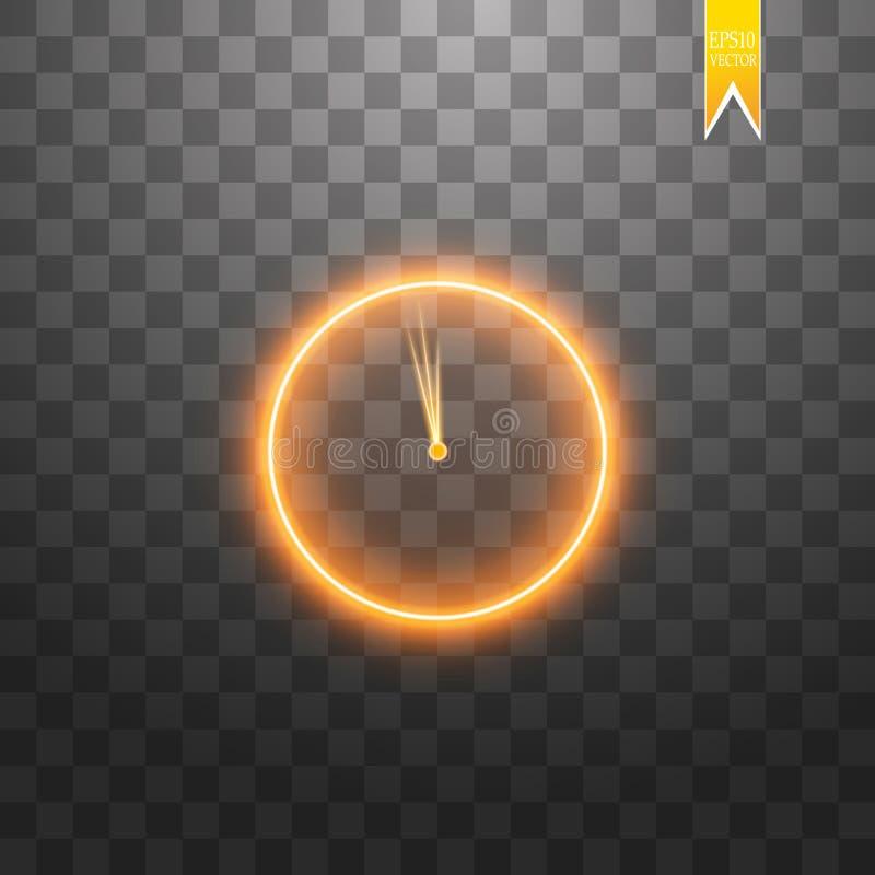 Φως νέου Εικονίδιο γραμμών ρολογιών Χρονικό σημάδι Ρολόι γραφείων ή σύμβολο χρονομέτρων Γραφικό σχέδιο πυράκτωσης διανυσματική απεικόνιση