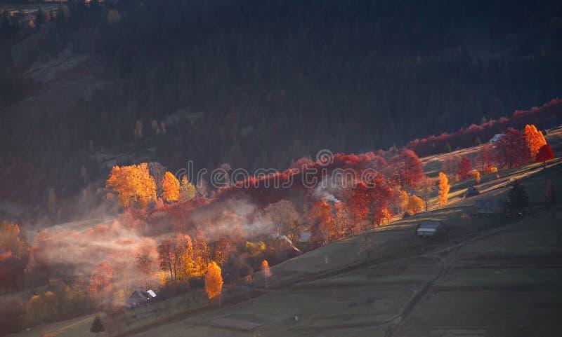 Φως πρωινού στα βουνά Χρώματα πρωινού φθινοπώρου στοκ εικόνες με δικαίωμα ελεύθερης χρήσης