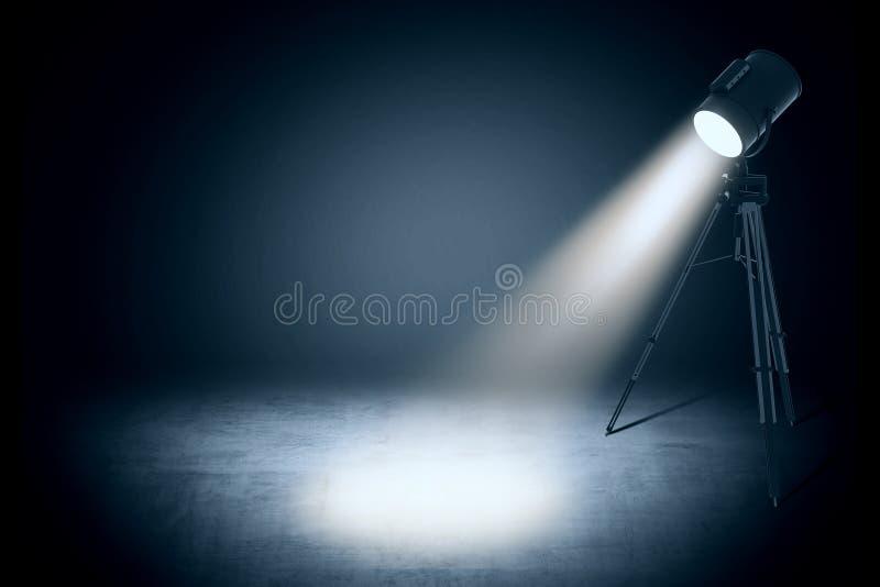 Φως σημείων θεάτρων στο κενό στούντιο διανυσματική απεικόνιση
