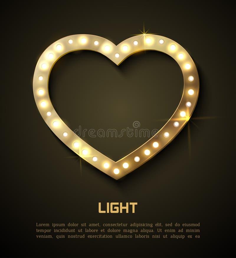 Φως στην καρδιά Αναδρομική ταινία Hollywood εμβλημάτων ύφους ρομαντική για το σχέδιό σας απεικόνιση αποθεμάτων