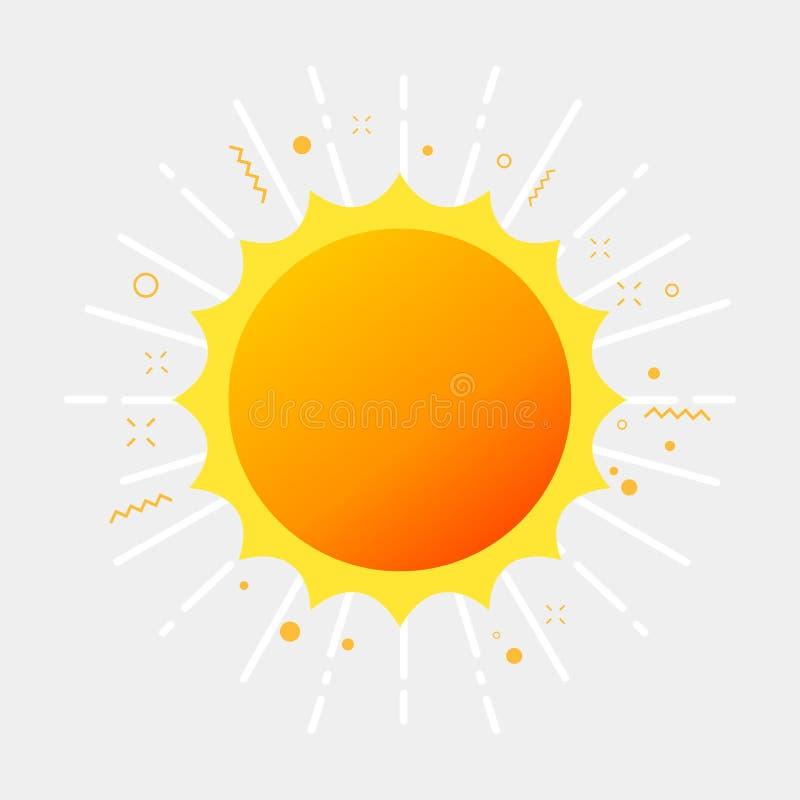 Φως του ήλιου και ηλιοφάνεια Θερινό εικονόγραμμα διανυσματική απεικόνιση