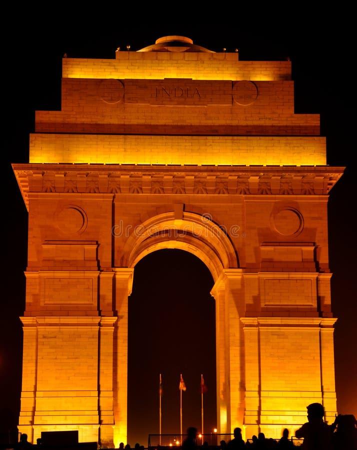 Φωτίζοντας πύλη της Ινδίας στοκ φωτογραφία