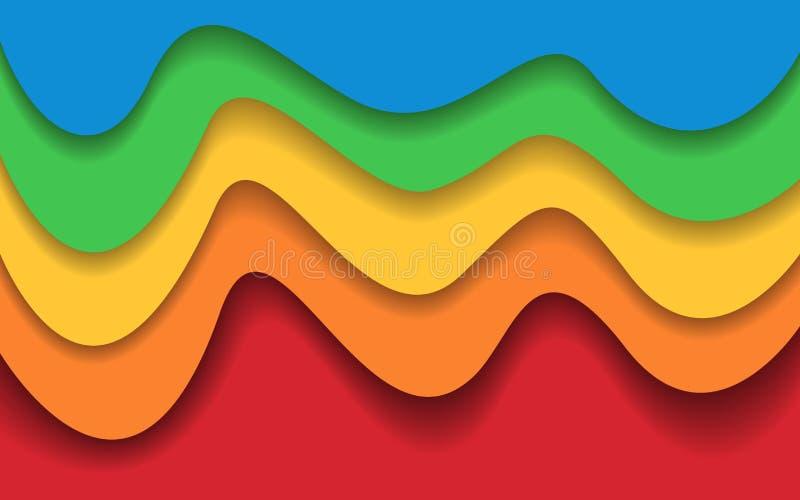 Φωτεινά ζωηρόχρωμα στρώματα Καθιερώνον τη μόδα αφηρημένο υπόβαθρο για τον Ιστό, έμβλημα αφίσα, παρουσίαση Υλικό σχέδιο Χρώμα διανυσματική απεικόνιση