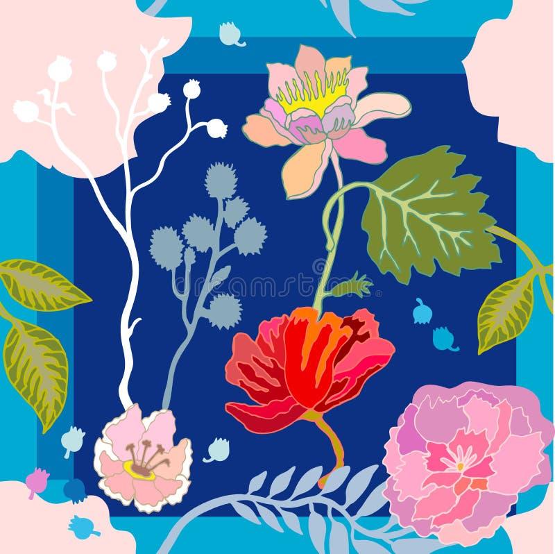 Φωτεινά θερινά χρώματα Μαντίλι μεταξιού με τα ανθίζοντας λουλούδια απεικόνιση αποθεμάτων
